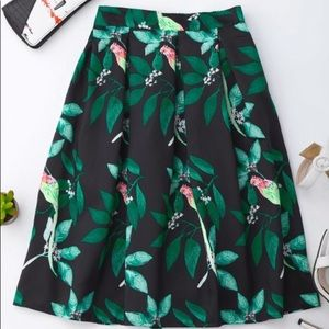 Tropical Bird Print Skirt